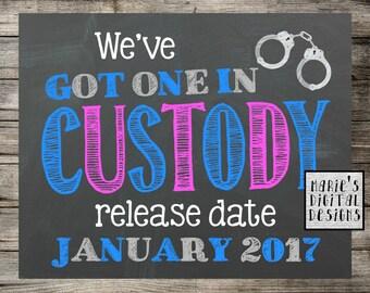 We've Got One In Custody - Printable Pregnancy Announcement / Chalkboard Police Photo Prop / Baby Reveal / Social Media Digital JPEG File