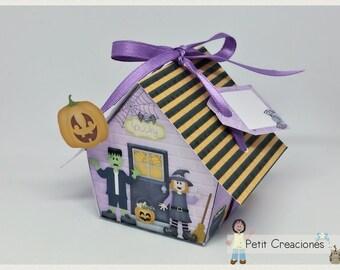 "PRINTABLE GIFT box ""Halloween house"" DIY, treat box, place holder, gift idea for Halloween"