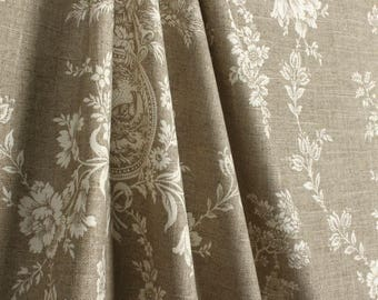 """Toile shower curtain , Waverly country house toile, linen tan 72"""" W x 84"""" L"""