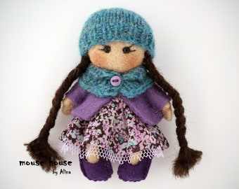 Violet Doll, Eco Toy, Felt brooch, Gift for a girl, Handmade dolls, Mini dolls, Needle Felted doll, Ornament dolls, Rag dolls, Pocket dolls