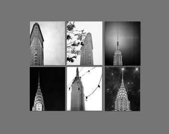 SALE, Black and White New York Photography, Set of 6 prints, Travel, Vertical New York City Prints