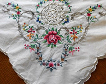 EMBROIDERED ROSES TABLECLOTH Detailed Stitches Flowers Leaves Openwork Scrolls Crochet Lace Insets Scallop Edge, Vintage Table Linen 62 x 81