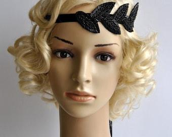 Black Vintage Inspired beaded Headband, The Great Gatsby Headband, 1920s headpiece, Flapper Headband, rhinestone beaded headband, black
