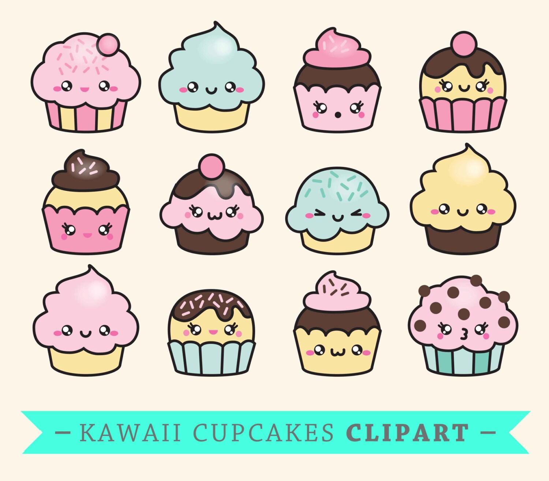 premium vector clipart kawaii cup cakes cute cupcakes rh etsy com kawaii clipart png kawaii clipart etsy
