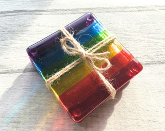 Set of 4 Rainbow Coasters, Fused Glass Coasters, Drink Coasters, Rainbow Glass, Housewarming Gift, Rainbow Decor, Rainbow Gift, Pride Gift