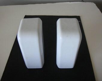 Vintage Art Deco White Porcelain Salt and Pepper Shakers - Streamline Shape