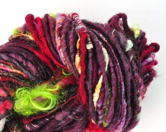 Handspun Yarn - Lovingly Spun - Exotic Bloom - Super Bulky Corespun Single - 64 Yards