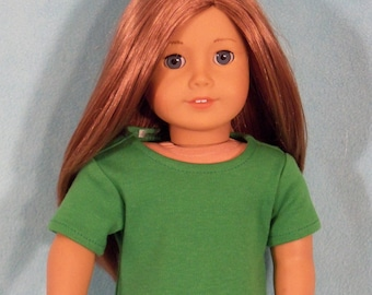 American Made 18 inch Doll Short Sleeved Apple Green T-Shirt