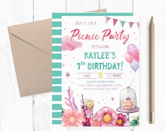 Picnic Birthday Invitation, Picnic Birthday Party Invitation, Picnic Invitation, Garden Birthday Party Invitation, Park Birthday Invitation,