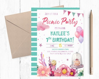 Picnic Birthday Invitation, Picnic Birthday Party Invitation, Picnic  Invitation, Garden Birthday Party Invitation