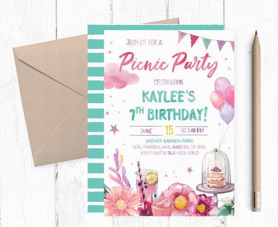 Picnic Birthday Invitation Picnic Birthday Party Invitation