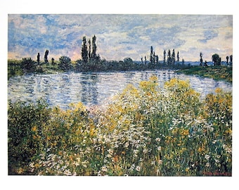 Claude Monet - Banks of the Siene, Vetheuil - French Impressionist Art - 1977 Large Poster Sized Print 12 x 15