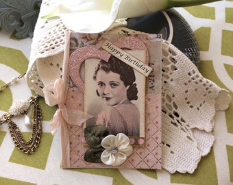 Victorian Birthday Card - Handmade Card - Vintage-style Birthday Card