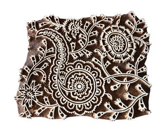 Square Paisley Stamp Block Print Stamp Textile Stamp Fabric Stamp Wood Block Stamp Indian Carved Stamp
