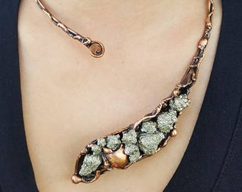 Copper Necklace with Pyrite