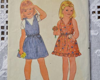 Butterick 3762 Sewing Pattern Childrens Girls Dress or Jumper Size 2 3 4  DIY Sewing Vintage Sewing Pattern PanchosPorch