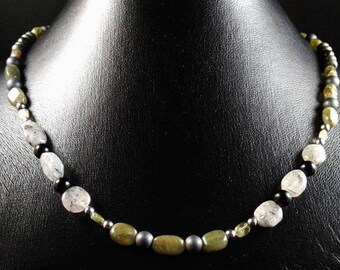 Necklace quartz and Peridot tourmaline