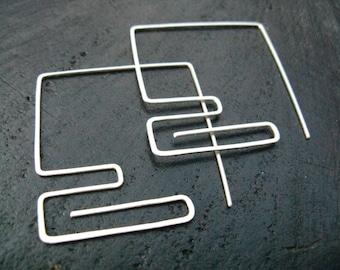 statement geometric earrings, oversized square graphic hoop earrings, meander pattern large ethnic silver hoops