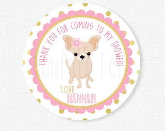 Chihuahua Shower Favor Tags, Shower Thank You Tags, Girl Puppy Shower Favor Tags, Pink and Gold Tag, Personalized