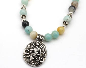 Mermaid necklace with crown and heart, light blue black brown amazonite beads, 18 3/4 inches long