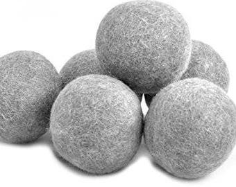 6pcs of Grey Laundry Wool Dryer Balls - 100% NZ wool *** Huge Savings *** Limited Time only