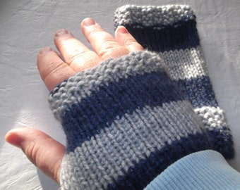 Fingerless Gloves Blue Stripe Knitted Gloves Skiing Ice Skating Snow Playing Cellphone Accessory Unique Stocking Stuffer Idea