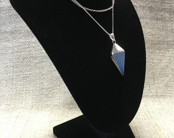 Silvered Opal Reiki Healing Crystal Pendulum Necklace
