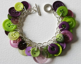 Button Bracelet Dusky Purple and Lime Green