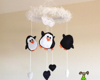 Penguin Baby Crib Mobile, Nursery Decoration-with snow and black/white hearts