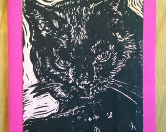 Black Shorthair Cat Block Print Blank Card