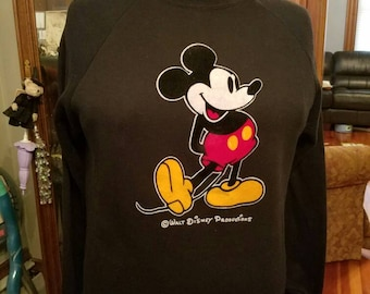 Vintage Mickey Mouse Sweatshirt Walt Disney Productions Size X Large Black Flocking Made in the USA Character Fashions