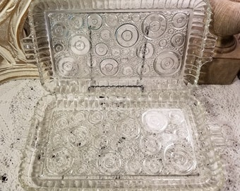 Double handle clear glass relish trays