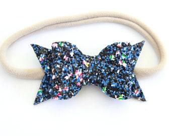 Blue Fireworks Glitter Headband - July 4th Bow Headband - 4th of July Bow Headband - Glitter Bow Headband - Baby 4th of July Headband