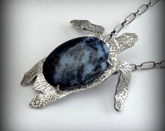 Denny the Sterling Sea Turtle with Dedrite Opal