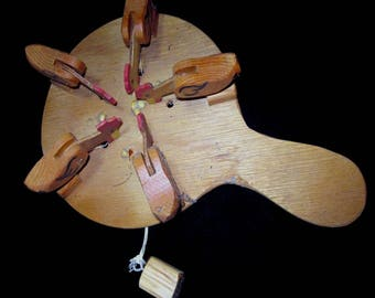 Vintage Paddle Game with Chickens