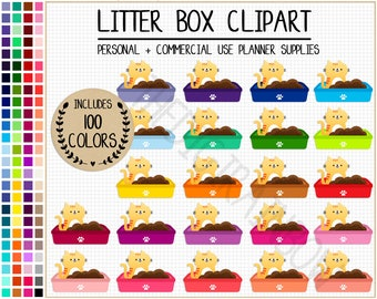 SALE 100 LITTER BOX clipart cat clipart kitty litter box icon animal clipart cat sticker cat printable planner pet care cleaning reminder