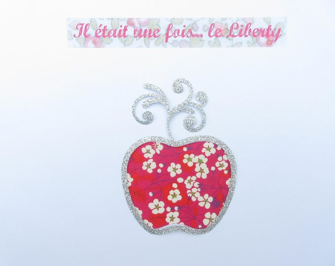 Applied fusible Apple baroque liberty Mitsi hot pink & silver glitter fabric. patch iron on fusible pattern liberty badges