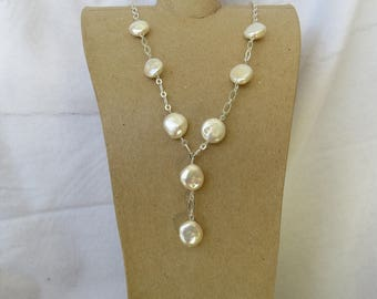 White coin pearl lariet style necklace with matching earrings set