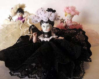 "Assemblage Angel ""Black and White""  Assemblage Art Doll, Antique Doll Parts, Vintage Style Art Doll"