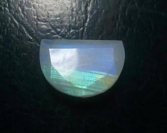 Rainbow Moonstone Moon Shape Faceted Cut