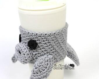Manatee Crochet Pattern - Manatee Coffee Cozy Pattern  Crochet Coffee Sleeve Pattern - Coffee Sleeve Pattern- Sea Cow