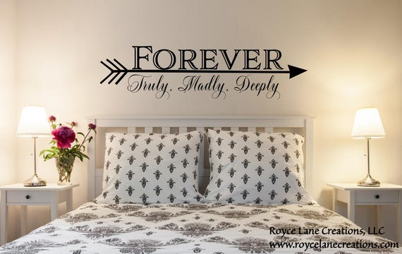 Chambre à coucher muraux sticker forever truly madly deeply wall decal flèche mur decor flèche chambre decor flèche wall art flèche mots