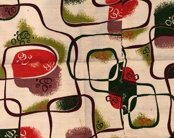 vintage 1940's barkcloth fabric// mid century modern