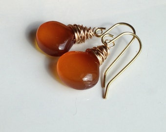 Briolette Earrings, Orange Chalcedony Briolette Earrings, Fall Earrings, Gold Fill Wire, Dangle Earrings, Autumnal Earrings