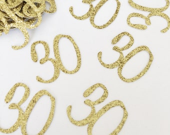 Glitter Number Confetti - 30th Birthday Confetti - Custom Age Confetti - Table Scatter - Gold Script Confetti - Gold Confetti - Confetti