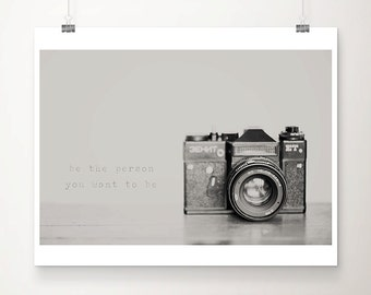 vintage camera photograph black and white photography inspirational quote typography print vintage camera print