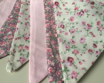 Pink and Cream Floral Bunting