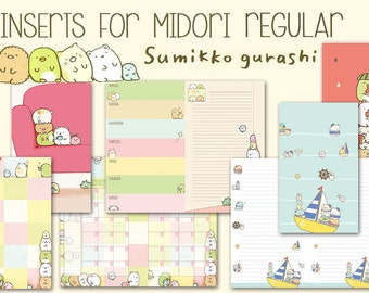 Midori inserts regular size summiko gurashi printable fauxdori notebook weekly planner monthly planner covers notes pages