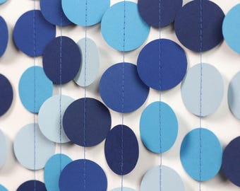 Blue Ombre Garland - Blue Baby Shower Decorations - Blue Wedding Decor - Blue Paper Garland