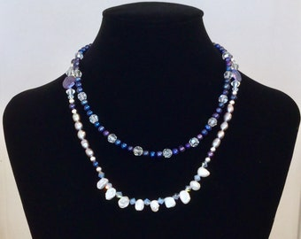 Pearl and Crystal Two Layer Necklace